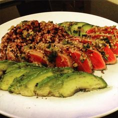 Sesame crusted ahi tuna with ginger soy dressing rice avocado and cucumber. Cals 567 protein 59g fat 19g carbs 40g #macros #iifym #cooking #dinner #rare by mtran12