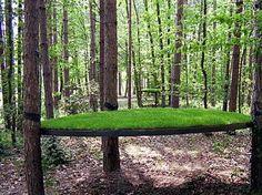 "Shigeko Hirakawa: Spinning Ellipses, 1992,5 elliptical lawns suspended among trees(elliptical lawn : 300x200cm, 400kg, grass, iron, sand),CompetitionShow ""Sculptors in the City"",Homage to Henri Gaudier-Brzeska,Longues Allées Parc in Saint-Jean-de Braye city, France"