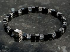 Silverlås med kuber i bergskristall, onyx och hematit - Silver clasp with cubes in rock crystal, hematite and onyx