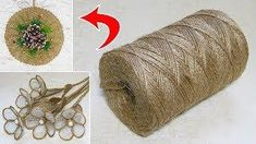 10 IDEAS crafts from JUTE. Ideas for Christmas crafts. New Year's Crafts, Diy Crafts For Kids, Hessian Crafts, Jewellery Organizer Diy, Burlap Flower Tutorial, Twine Flowers, Jute Twine, Flower Crafts, Diy Flower