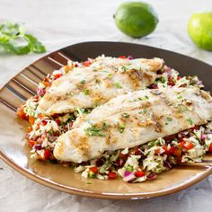 Grilled Basa over Spicy Slaw | Replace ACV with lemon and olive oil dressing