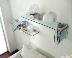 mensola aida in vetro curvato trasparente
