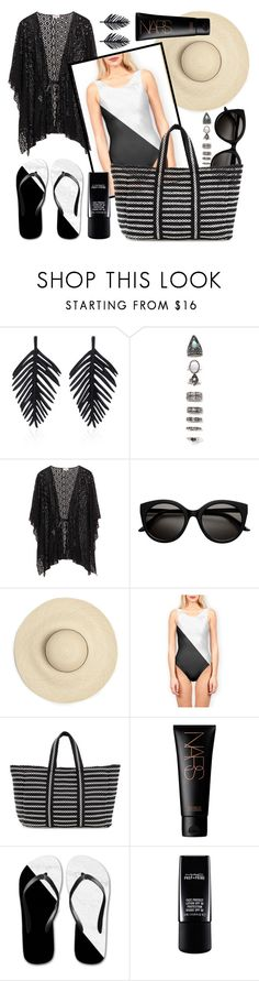 """""""OOTD - Beach Day In BW"""" by by-jwp ❤ liked on Polyvore featuring Oscar de la Renta, Nasty Gal, B Brian Atwood and NARS Cosmetics"""