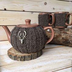 """Купить Чайник и пара кружек """"Оленья тропа"""" - коричневый, деревенский стиль, охотничий стиль, охотнику"""