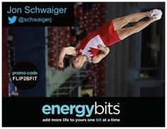 "JON SCHWAIGER: Jon is a Canadian National Team athlete for power tumbling and double mini trampoline! ""I have tried multiple products to try to get a boost before training sessions or workout sessions after a long day of work. After trying ENERGYbits, I have found that needed energy without the crash, and as someone who trains 5 days a week at an elite level, this is of utmost importance to me to keep pushing myself. """