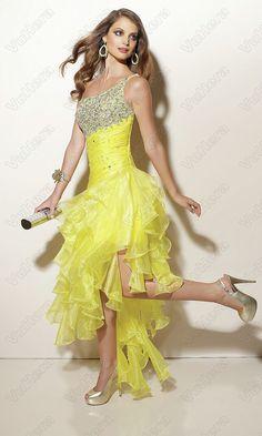 Sequin Ruffled One Shoulder Yellow Prom Dress - Vuhera.com