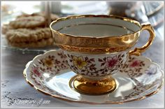 beautiful floral teacup set with gold banding