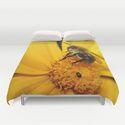 duvet covers Bee on yellow flower by Christine Baessler