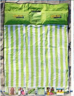 cushy water proof nylon blanket protects you from bumps and lumps in the sand. The Bodacious Beach Blanket comes fitted out with a matching towel, two inflatable pillows and three water proof pockets that can hold all those little items (phone, iPod, wallet, keys, etc) so you don't have to bring along any other bag! When you get to the beach just inflate the pillows, button in your towel (so it doesn't fly away and is easily removed for washing), and add some sand into the four corner…