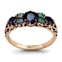 Kolekcja Wiktoriańska - pierścionek z szafirami i opalami