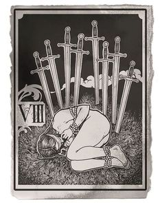 #eightofswords is for me one of the most emotional and beautiful #tarot card. It stands for isolation, self-imposed restriction, boundaries; feeling trapped by your own thoughts. | Artist: @yadou_tattoo