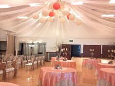 Such a cute ceiling decoration! Can't even tell it's a gym (: This website is so cute! Has a lot of ideas to make the cultural hall wedding ready and will rent things or give you stuff to diy