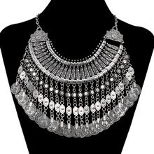 2015 Fashion Bohemian Coin Tassel Fine Jewelry Vintage Choker Collar Collier Statement Maxi Necklace Women Necklaces & Pendants(China (Mainland))