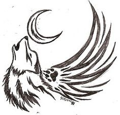 wolf tattoo | Tumblr-take off the wings and this isn't half bad
