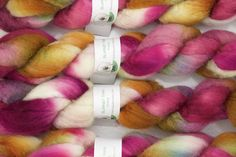 Handpainted Bluefaced Leicester Wool Roving in Wild Rose II by blarneyyarn