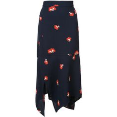 Victoria Beckham printed midi skirt ($1,280) ❤ liked on Polyvore featuring skirts, blue, victoria beckham, blue skirts, rayon skirt, mid-calf skirt and midi skirt