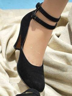 1940s Double Strap Shoe---Ooooh la la! black suede heel buckle ankle pumps swing…