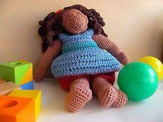 Black Doll in cotton crochet. Artist Doll. Girly Playtime. OOAK