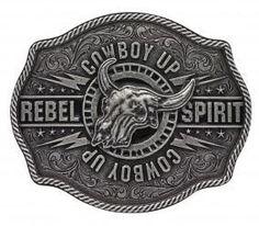 Montana Silversmiths Antiqued Cowboy Up 'Rebel Spirit' Buffalo Skull Attitude Buckle