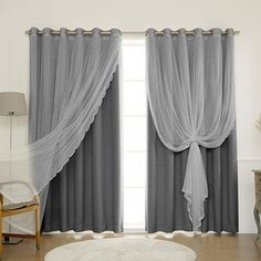 Best Home Fashion Mix & Match Wide Width Dotted Tulle Lace & Solid Blackout Curtain Set – Antique Bronze Grommet Top – Dark Grey – x – Curtain and 1 Sheer curtain) - ShopStyle Living Room Decor Curtains, Home Curtains, Sheer Curtains, Bedroom Decor, Grey Curtains Bedroom, Layered Curtains, Grey And White Curtains, Stoff Design, Romantic Room