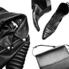 Agneel handbag and The Arrivals NYC jacket. Flat lay via OVRSLO. #ovrslo #flatlay #agneel