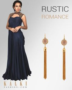 ROMANCE THE BLUE AND GOLD!  Pair up this sexy navy blue gown with our gold chain dangler earrings. Bring out your own chic and modish style!  Shop gown: http://tiny.cc/t6besx Shop earring: http://tiny.cc/1acesx