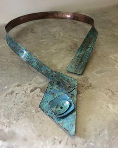 Turquoise necklace cuff layered riveted metal distressed