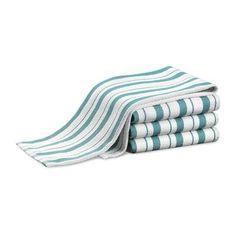 Williams Sonoma Stripe Towels Set Of 4 Aqua