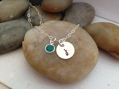 Dainty initial birth stone  necklace by thecharmedwife on Etsy, $20.00