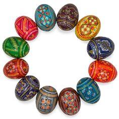 12 Ukrainian Hand Painted Pysanky Wooden Easter Eggs - Wooden Eggs   BestPysanky
