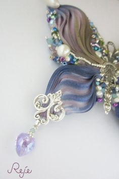 Bead embroidery and shibori silk butterfly by Reje -Handmade in Italy, details- www.rejesoutache.com https://www.facebook.com/rejegioielliinsoutache