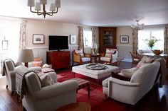 Sarah Richardson - family room layout could work? Living Tv, Big Living Rooms, Living Room Pictures, Home And Living, Dining Room Wall Decor, Living Room Furniture Layout, Living Room Designs, Bedroom Furniture, Fireplace Furniture