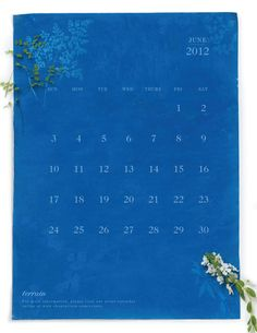 Sun print (cyanotype) calendar <3 This could be done by printing the calendar you want on a fairly thin printer paper and laying it over a prepared sun paper sheet, then lay in the sun to expose <3