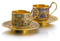 Two silver-gilt and cloisonné enamel cups and saucers, 11th Artel, Moscow, 1908-1917 | lot | Sotheby's