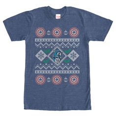 Cap Sweater - Deck the halls with Captain America on the Marvel Captain America Christmas Sweater Heather Navy Blue T-Shirt. This festive blue shirt has the beloved American hero, Captain America, presented in an ugly Christmas sweater style!