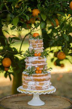 Beautiful wedding cake in an orange grove