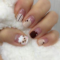 Cute Kawaii Nail Art, Cute Nail Art, Gel Nail Art, Nail Art For Girls, Nails For Kids, Animal Nail Designs, Nail Art Designs, Anime Nails, Really Cute Nails