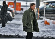 Michael Fassbender on the set of The Snowman