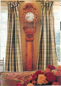 Design by Cynthia Hurley (Southern Accents) French Decor, French Country Decorating, Window Coverings, Window Treatments, Plaid Curtains, Southern Accents, Green Sofa, Window Styles, French Country House