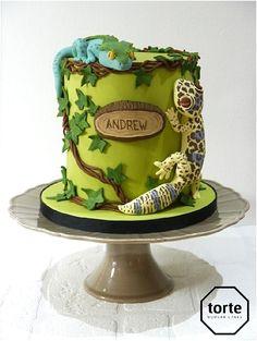 Gecko birthday cake #birthday #cake #gecko #jungle