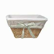 """Badger Basket Natural Basket with White Waffle Liner and 4 Ribbons, 15""""L x 15""""W x 8""""H"""