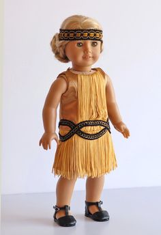 "American Girl Doll Clothing, Downton Abby Inspired Doll Outfit, Gold American Girl Doll dress, Flapper Dress for 18"" dolls, ag doll dress"