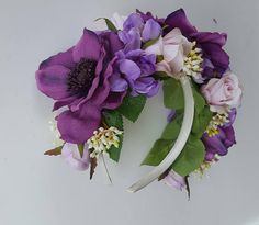 Spring Racing Floral Headband Fascinator with Pink & Purple