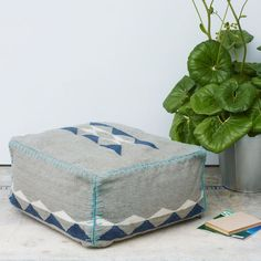 I like the style of this outdoor pouf, especially if it could be done in the hessian fabric shown on this Pinterest board, with blue stitching of course!