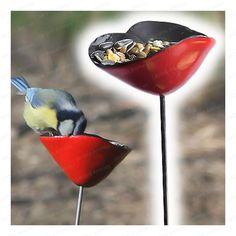 Poppy ceramic bird feeders x3 - diam.7cm