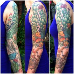 #desert #sleeve #tattoo #poppies #succulent