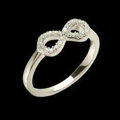 Anel de prata com ródio símbolo do infinito com zircônia