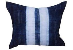 Custom pillow made with a vintage indigo dyed textile fragment from Mali.