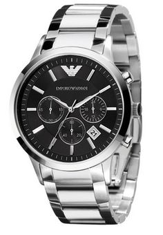 Show him you love him, perfect gift for valentines day. Men's Emporio Armani Chronograph watch and bracelet in stainless steel. The black dial gives this Emporio Armani watch an elegant, masc… Emporio Armani Uhren, Emporio Armani Mens Watches, Giorgio Armani, Stainless Steel Watch, Stainless Steel Bracelet, Cool Watches, Watches For Men, Latest Watches, Stylish Watches