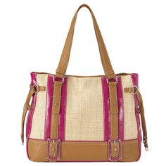 Eyes Closed Tote in Natural/Pink #9WHeartsMom